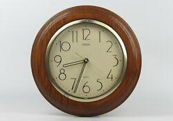 "Vintage Sunbeam Round Quartz Wood Case Wall Clock 11 ½"""