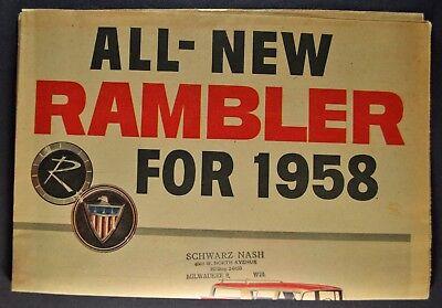 1958 Rambler Newsprint Brochure Rebel Ambassador AMC Nash Excellent Original 58