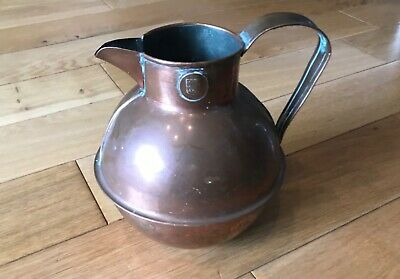 Rare Vintage Copper Guernsey Jug by LE LIEVRES  LTD 1 High St Guernsey