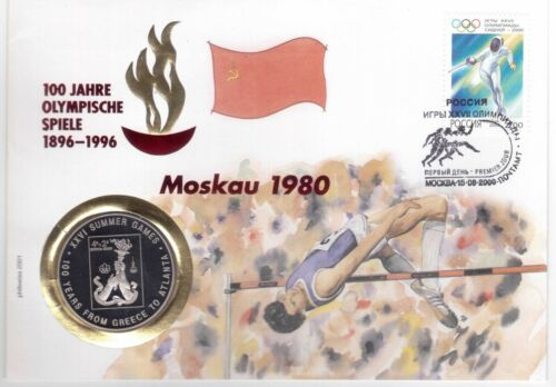 MONGOLIA RARE PROOF 100 TUGRIK COIN 2002 YEAR MOSCOW OLYMPIC GAMES FDC