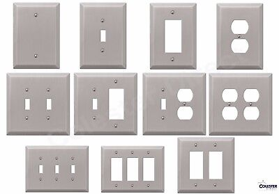 Brushed Satin Nickel Wall Switch Plate Outlet Cover Toggle Rocker GFI