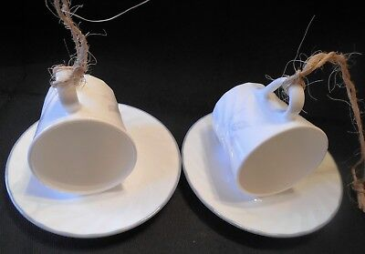 Bird Seed Feeder Set Of 2 Corelle Cup & Saucer Pink Trio Swirl New Handmade