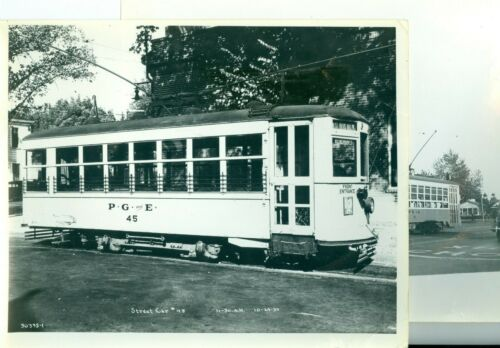 2 Oct 29, 1934 Pacific Gas & Electric PG&E Sacramento Street Railway Cars 10x8