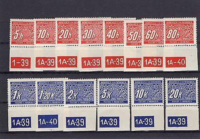 Böhmen und Mähren Portomarken Nr. 1-14 ** mit Untgerrand + Bogen Nr. (B-520)