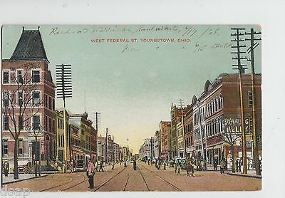 Youngstown Ohio Postcard C1910 West Federal Street Stores Busy Mahoning Co Y14