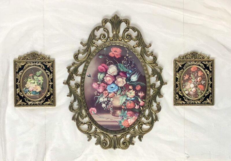 VTG Set/3 Italian Ornate Oval Wall Frame Convex Glass Floral Vase Gold Gilt