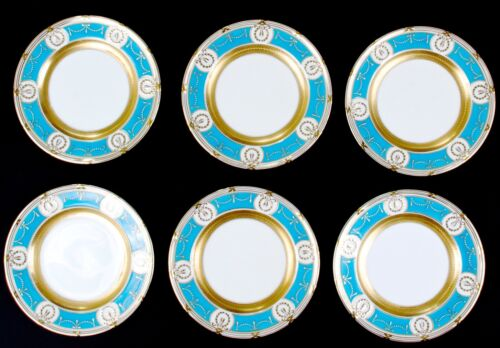 6 Minton Turquoise-Blue Salad Plates with gold, gilt or gilding