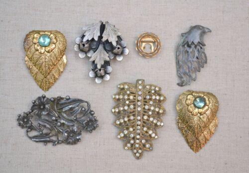 Vintage & antique dress clip lot of 7 unusual leaf rhinestone bird nouveau craft