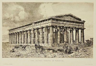 Radierung 19. Jh. Der große Tempel in Paestum Italien 38 x 28 cm