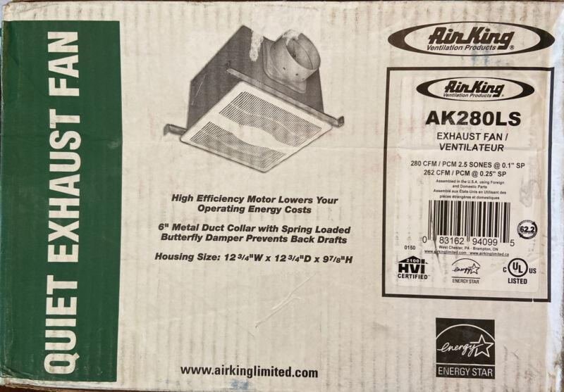 Air King Quiet Zone 280 CFM Ceiling Bathroom Exhaust Ventilation Fan AK280LS