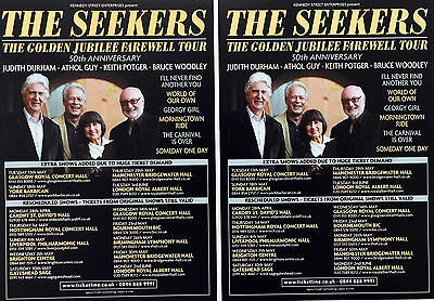 2 X THE SEEKERS FAREWELL 50TH ANNIVERSARY TOUR FLYERS JUDITH DURHAM