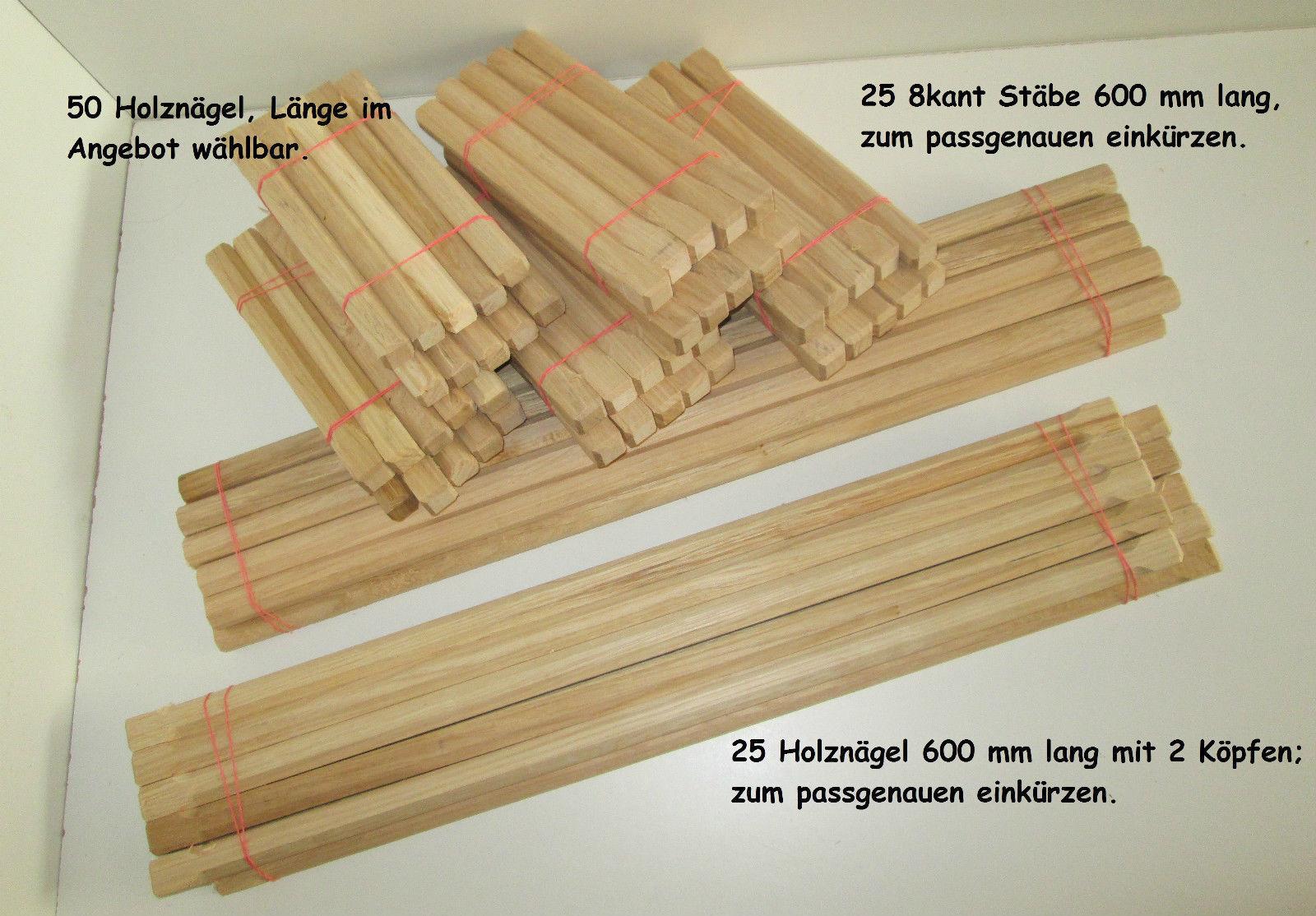 50/25 Stück Holznagel Fachwerknägel Holznägel aus Eiche Länge 120-600 mm x 20 mm