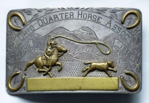 "Antique 1956 Don RICARDO Sterling Silver (101 g) Rodeo Belt Buckle ""Ohio Quarter"