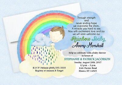 Rainbow Baby Shower Invitations Girl Boy Neutral Watercolor Sprinkle Invite 60](Sprinkle Baby Shower Invitations)