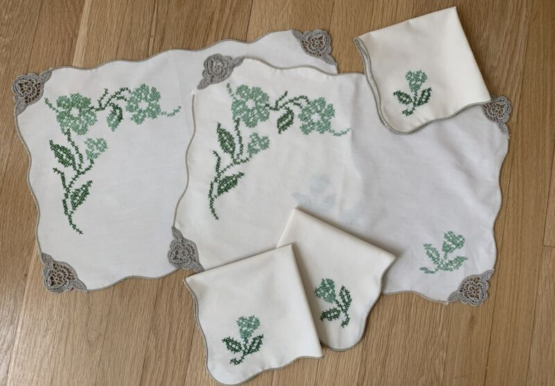 Vintage Cream Placemats (2) & Napkins (5) with Green Stitched Flowers