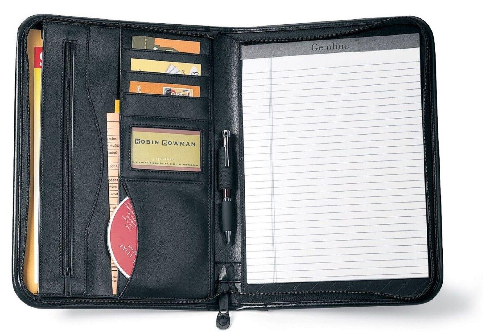 Gemline Deluxe Executive Vintage Black Leather Zippered Padf