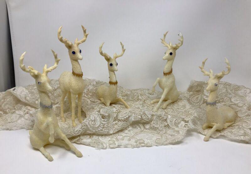 Set Of 5 Vintage White Plastic Glitter Christmas Deer Reindeer 1960s, Hong Kong