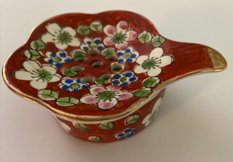 Vintage Asian Porcelain Tea Strainer Bowl Japan Gold Trim Floral Decorative 2 Pc