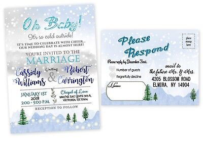 Wedding Invitations Personalized Winter Christmas Tree with RSVP Cards Qty 50
