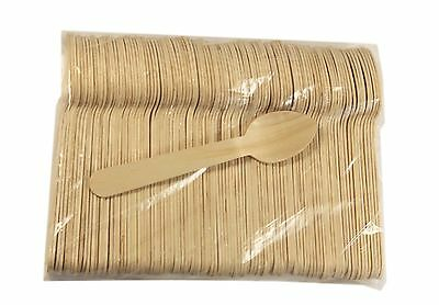100 Ct Of 4.5 Wood Taster Spoon Ice Cream Spoon With Concave Green 110