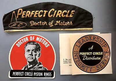 Vintage Perfect Circle Piston Ring Hat Cap And 2 Sticker Decals