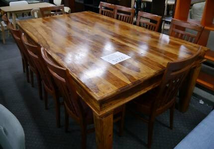 Used Large Teak Timber Wood Dining Table 10 Chairs Setting