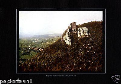 Burgruine Reußenstein Neidlingen XL Fotoabbildung von 1924 Burg Schloss Ruine +