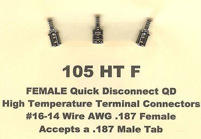 50 High Temperature Quick Disconnect Qd Terminals 16-14 Wire .187 Female Molex
