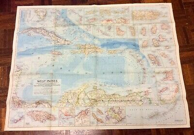 Large Vintage Map Of The West Indies - National Geographic 1954