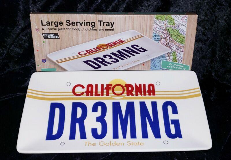 Fun Collectible California Dreaming Stoneware Car License Plate Serving Tray