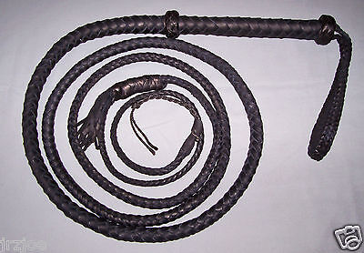 14 foot  8 plait TARGET BULL WHIP-BLACK LEATHER (real bullwhip)