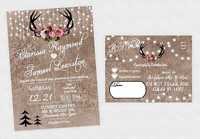 Wedding Invitations Rustic Winter Christmas Invites Boho Woodland Deer ()