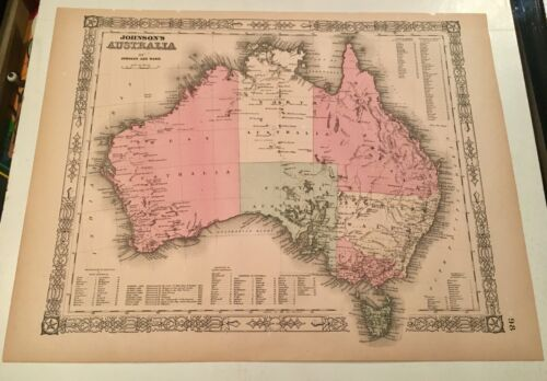 Civil War Era 1866 A.J. Johnson and Ward Map of Australia