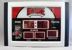 North Carolina State Wolfpack NCAA Scoreboard Clock & Thermometer Desk-patio NEW