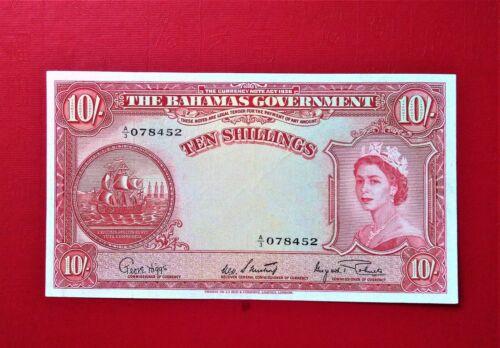 1953 BAHAMAS 10 SHILLINGS OLD BANKNOTE