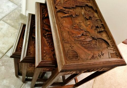 Vintage set of Chinese hand carved wooden nesting tables