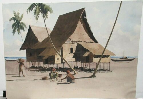 OLD VIETNAM BEACH VILLAGE WATERCOLOR LANDSCAPE PAINTING