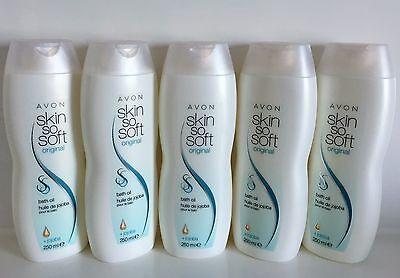 """(19,20€/L) Avon 5 x Skin So Soft Original Badeöl, Körperöl mit Jojoba """"1250ml"""""""