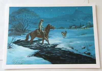 Unused Vtg Christmas Card Hallmark Western Images Cowboy on Horse with Dog