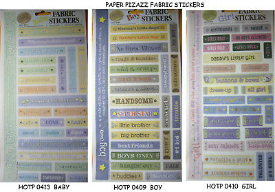 Baby Fabric Stickers (NEW FABRIC STICKERS -  GIRL - BOY - BABY * Your Choice Design * PAPER PIZAZZ Lrg )