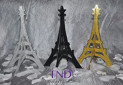 4-PACK 3D GLITTER EIFFEL TOWER STAND SCULPTURE PARIS FRENCH THEMED DECORATION - Paris Themed Party Decor