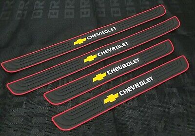 4PCS Black Rubber Car Door Scuff Sill Cover Panel Step Protector For Chevrolet 1980 Chevrolet Malibu Door