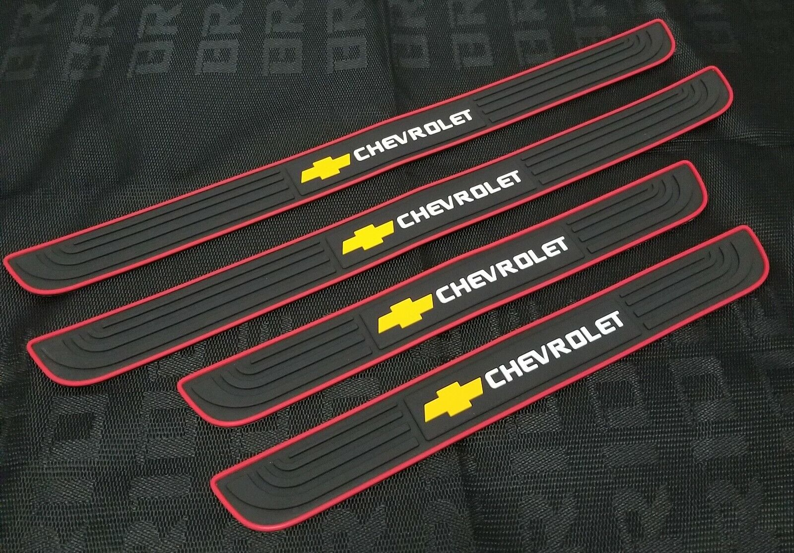 Car Parts - 4PCS Black Rubber Car Door Scuff Sill Cover Panel Step Protector For Chevrolet