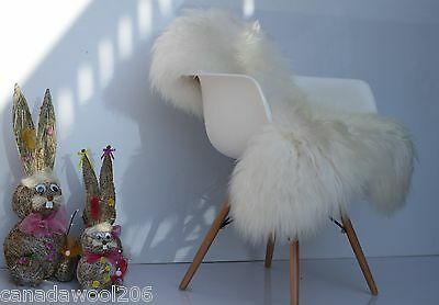 Genuine Natural Icelandic white Sheepskin Rug XXL long wool ,super soft