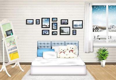 RE 11 PCs Black Wooden Photo Set Home Decor Pictures Collage Frames ()