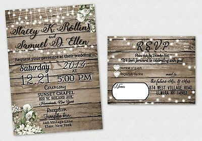 Rustic Wedding Invitations Bridal Shower Personalized Invite RSVP Cards Qty 50](Rustic Bridal Shower Invitations)
