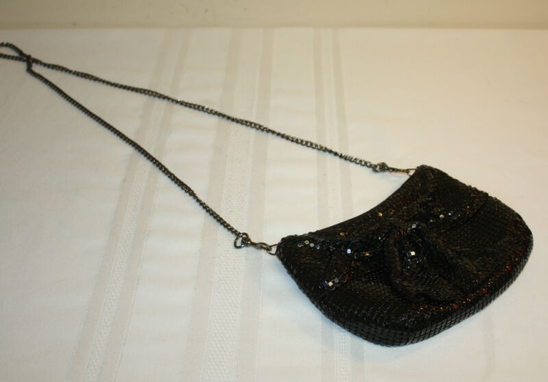 Womens Ladies Express Black Bow Metal Mesh Evening Bag Purse