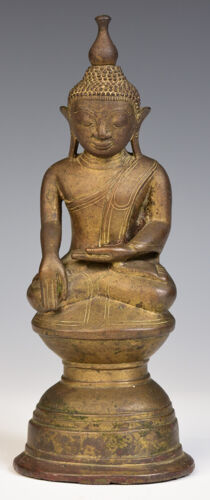 15th Century, Ava, Rare Antique Burmese Bronze Seated Buddha