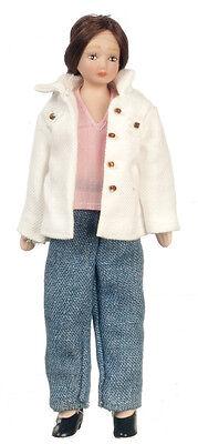 Dollhouse Miniature Doll - Mom Mother Modern Porcelain Denim 1:12 Scale