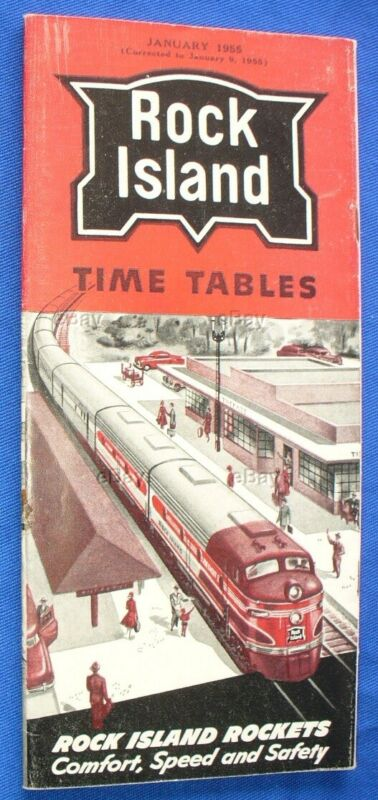 OLD RAILROAD TIME TABLE ROCK ISLAND JANUARY 1955 RAILWAY RR STATION DEPOT LINES